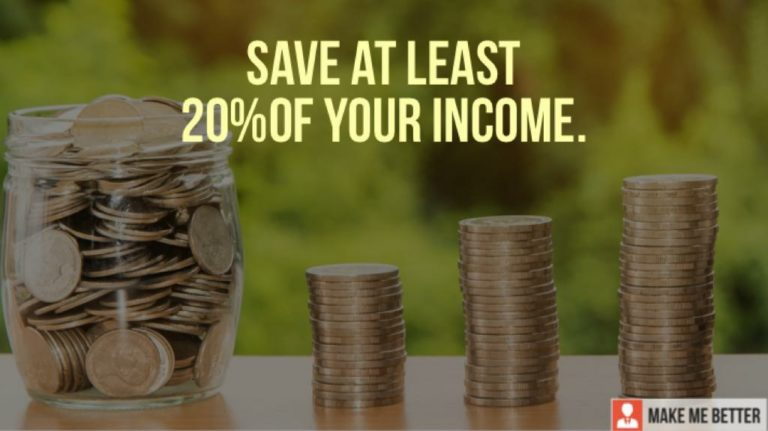 Save At Least 20% Of Your Income